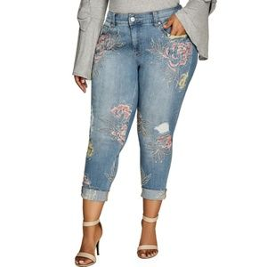 Melissa McCarthy 7Seven Embroidered Skinny Jean's